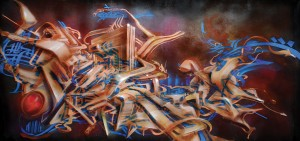 3D kaligraffiti - 2012 - 140x220 cm  - Spray on canvas